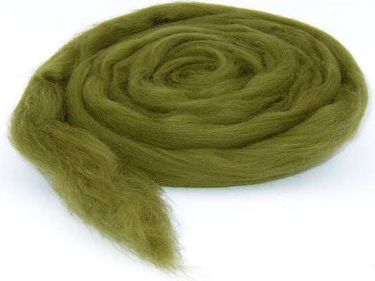 Filzwolle / Bunter Merinokammzug Olivgrün (39)