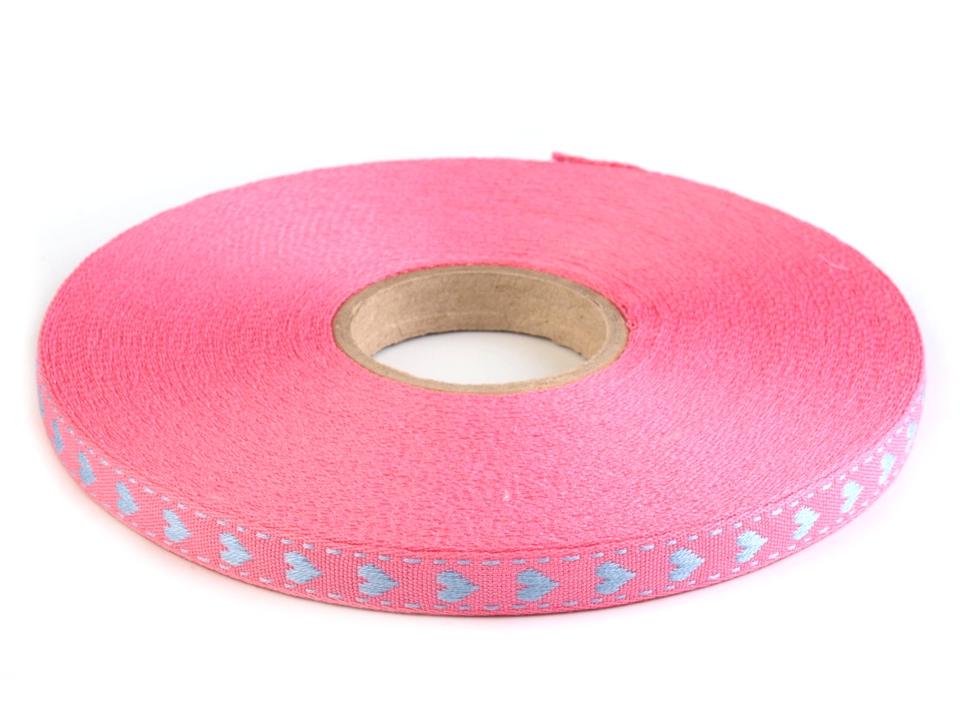 Herzchenwebband  in rosa / blau