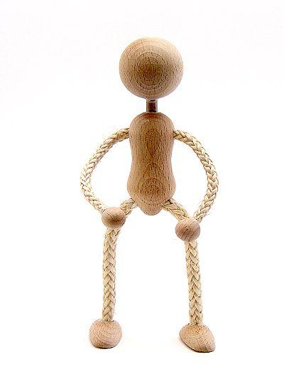 Biegepüppchen aus Holz und Sisal mit Kopf 10 cm