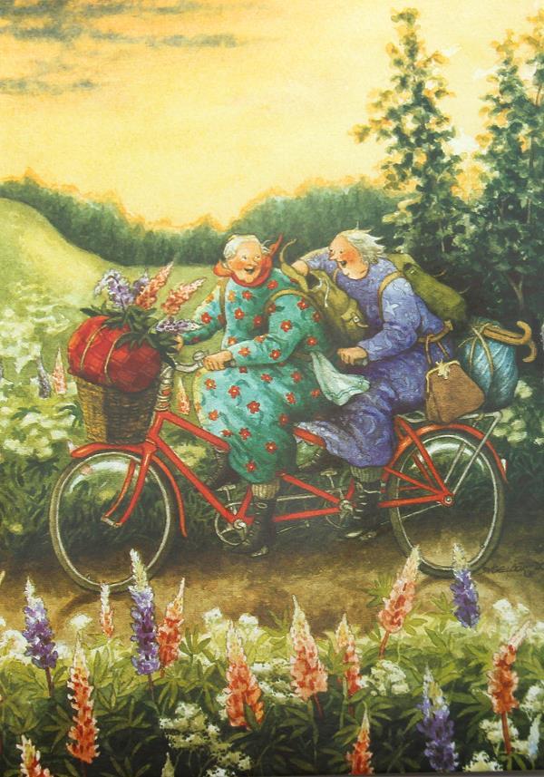 Postkarte Frauen fahren Tandem