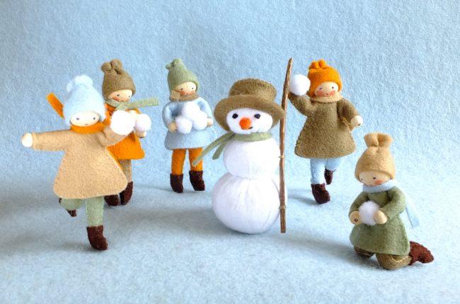Bastelpackung 5 Kinder und 1 Schneemann / Pippilotta