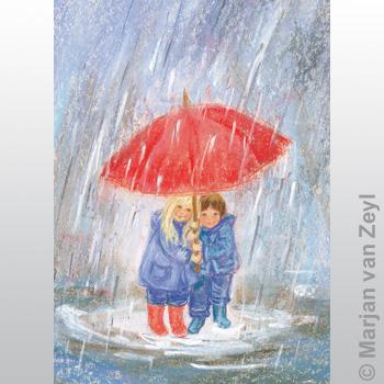 Kunstkarte  - Regenschirm