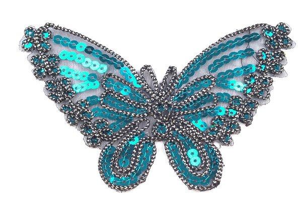 Aufbügeln - Applikation Schmetterling türkis