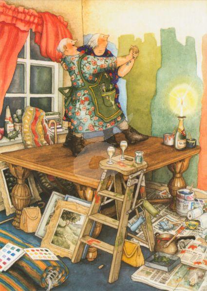Postkarte* Frauen tanzen auf dem Tisch