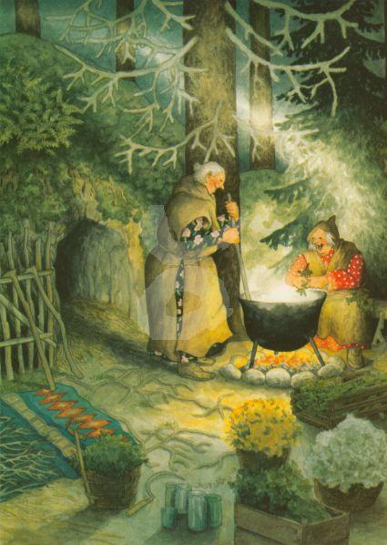 Postkarte * Frauen kochen über offenem Feuer
