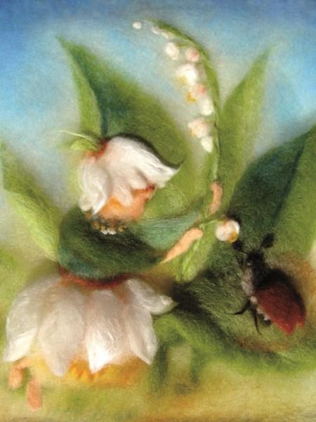 Kunstkarte * Wollbild Maiglöckchen