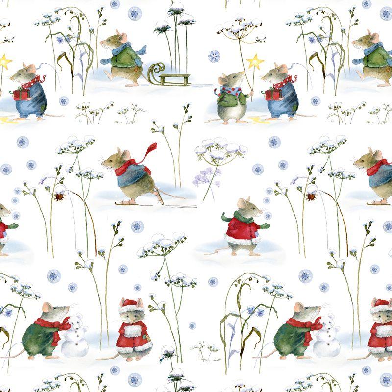Baumwollstoff  Wintermäuse von Daniela Drescher