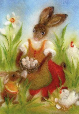 Kunstkarte * Osterhase mit Hühnern