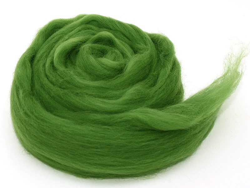 Filzwolle / Extrafeine Merinowolle im Kammzug Grasgrün