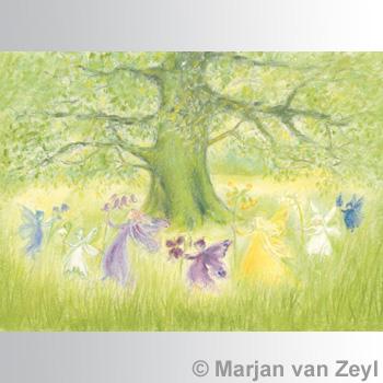 Postkarte Elfentanz im Frühling