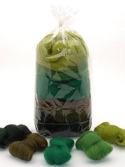 Filzwolle/ Bunt, gemischter Merinokammzug in Grüntönen 100 g