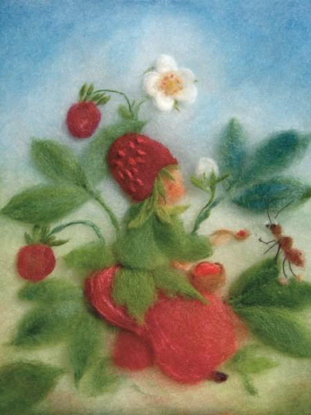 Kunstkarte * Wollbild Erdbeere