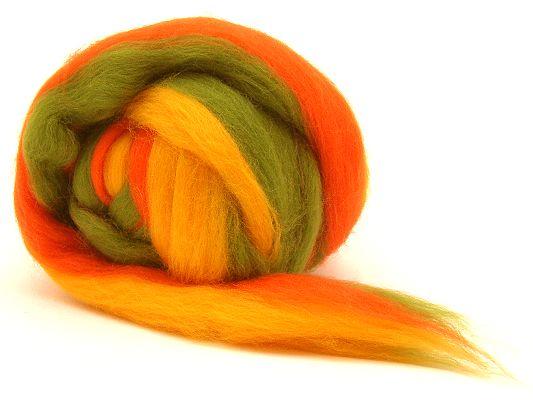Filzwolle / Feiner multicolor Merinokammzug Apfel