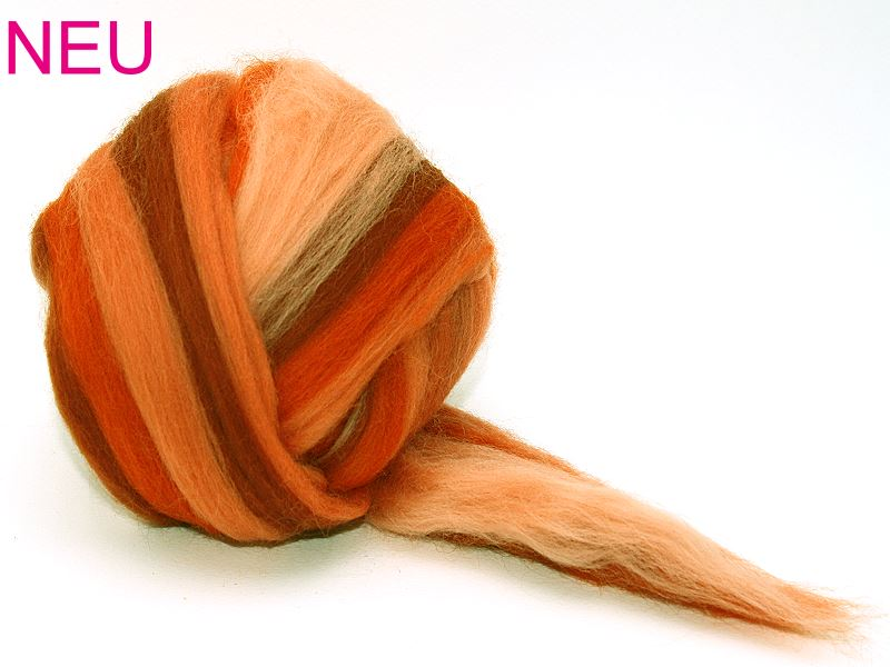 Filzwolle / Feiner multicolor Merinokammzug Oktober