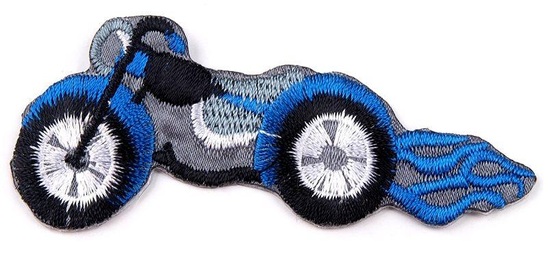 Aufbügeln - Applikation Motorrad blau