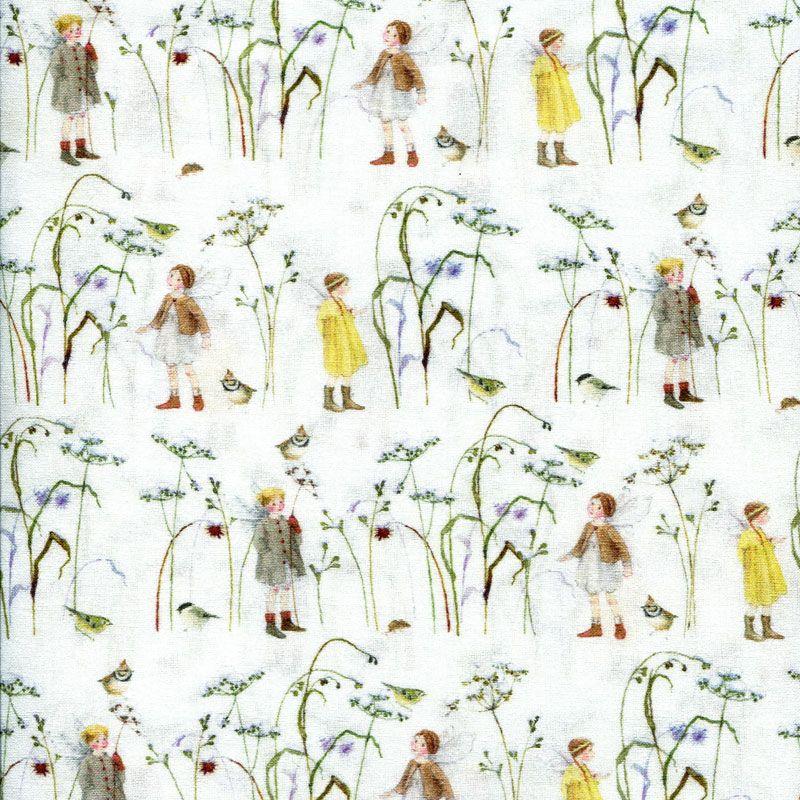 Baumwollstoff Elfen im Wintergras von Daniela Drescher