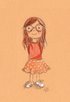 Postkarte Mädchen mit Brille