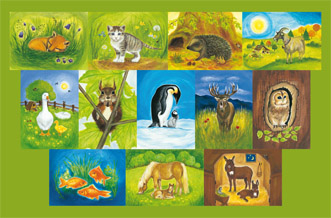 12 Kunstkartenset Tiere von Heike Stinner