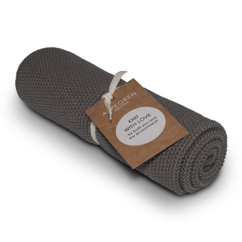 Aspegren kl. Handtuch gestrickt Steel gray