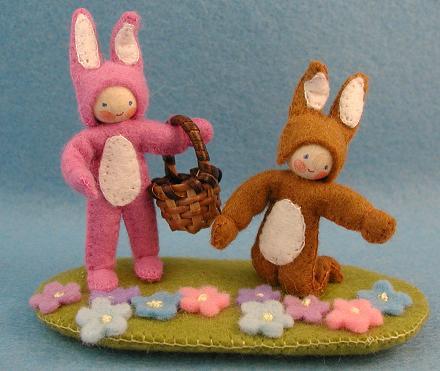 Zwei fröhliche Osterhäschen zum Basteln Atelier Pippilotta
