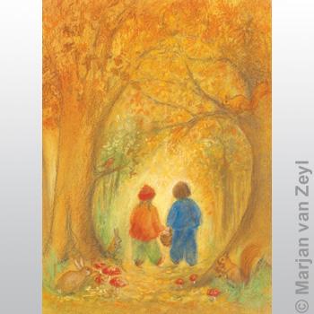 Kunstkarte Herbstwald