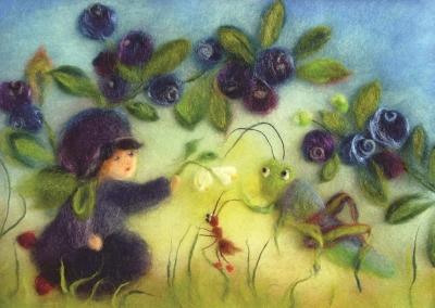 Kunstkarte * Heidelbeeren Wollbild