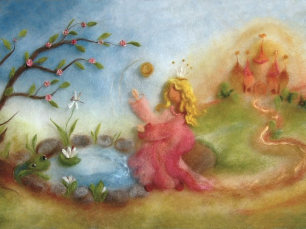 Kunstkarte Froschkönig Wollbild
