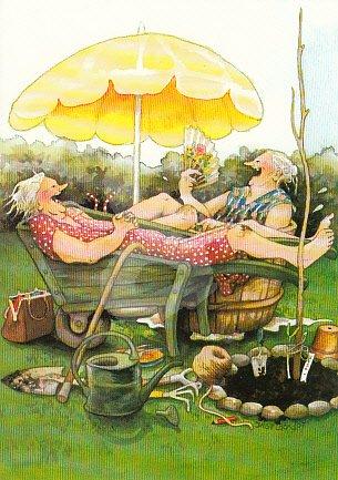 Postkarte * Frauen in Schubkarre und Zuber