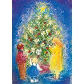 Kunstkarte Weihnachtsbaum blau