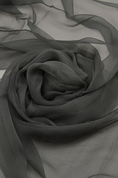Seidenschal aus Chiffon 180 x 55 cm Anthrazit