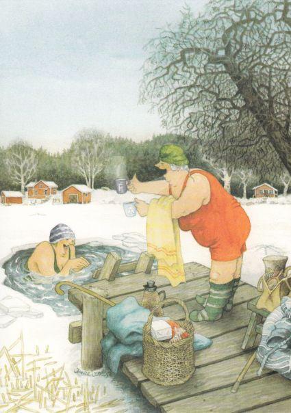 Postkarte Frauen baden im Eisloch