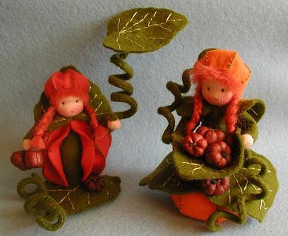 Zwei Kürbismädchen - Jahreszeitentisch- Bastelpackung