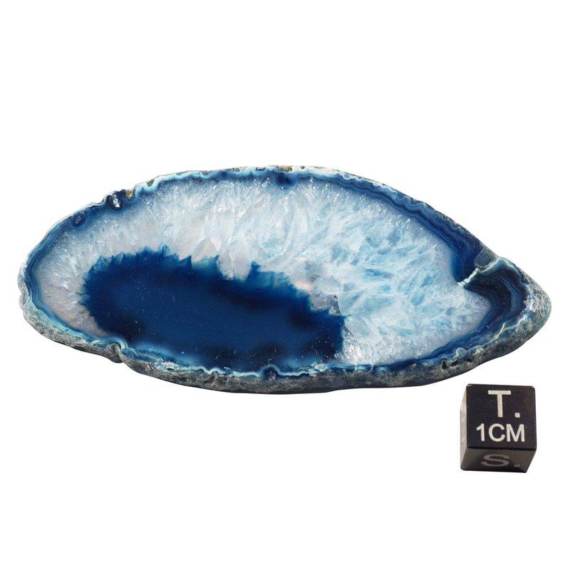 Kleine blau gefärbte Achatscheibe