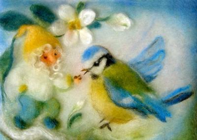 Kunstkarte * Wollbild Zwerg mit Blaumeise