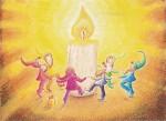 Kunstkarte * Tanz der Zwerge zum Geburtstag