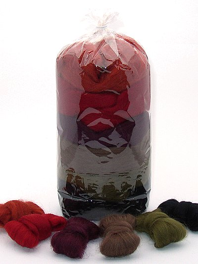 Filzwolle/ Bunt, gemischter Merinokammzug in Erdfarben 100 g