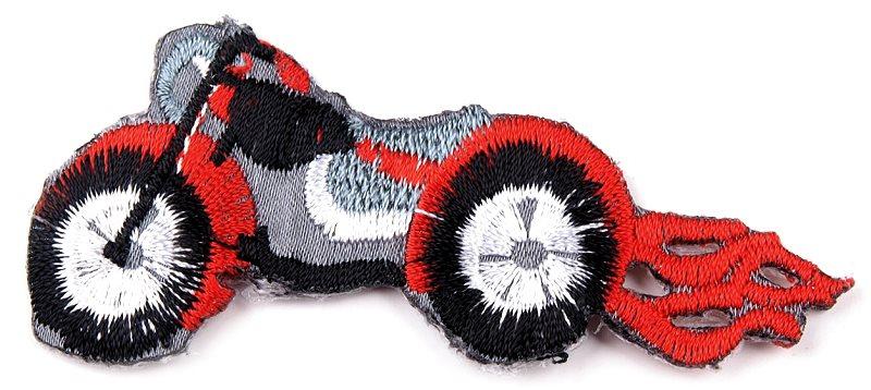 Aufbügeln - Applikation Motorrad rot